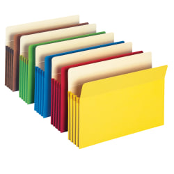 """Smead® Color File Pockets, 3 1/2"""" Expansion, 9 1/2"""" x 11 3/4"""", Assorted Colors, Pack Of 5"""