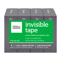 "Office Depot® Brand Invisible Tape, 3/4"" x 1296"", Clear, Pack of 4 rolls"