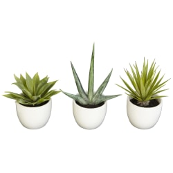 """Nearly Natural 8-1/2""""H Polyester 3-Piece Southwest Agave Collection, Green"""