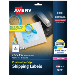 "Avery® Print-To-The-Edge Permanent Laser Shipping Labels, 6878, 3 3/4"" x 4 3/4"", White, Pack Of 100"