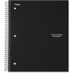 """Five Star College Ruled 3 - subject Notebook - Letter - 150 Sheets - Wire Bound - College Ruled - 8 1/2"""" x 11"""" - Black Cover - Kraft Cover - 1Each"""