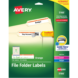"Avery® TrueBlock® Permanent Inkjet/Laser File Folder Labels, 5166, 9/16"" x 3 7/16"", Orange, Box Of 750"
