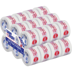 "Tape Logic® Stop If Seal Is Broken Preprinted Carton-Sealing Tape, 3"" Core, 3"" x 110 Yd., Red/White, Case Of 24"