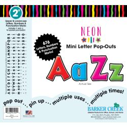 "Barker Creek® Letter Pop-Outs, 2"", Neon, Set Of 676"