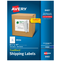 "Avery® Permanent Full-Sheet Labels, 8465, Inkjet, 8 1/2"" x 11"", White, Box Of 100"