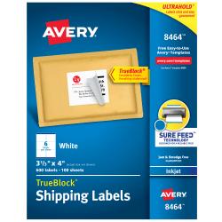 "Avery® TrueBlock® Permanent Inkjet Shipping Labels, 8464, 3 1/3"" x 4"", White, Pack Of 600"