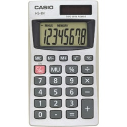 "Casio Pocket Calculator - 8 Digits - Battery/Solar Powered - 0.3"" x 2.2"" x 4"""