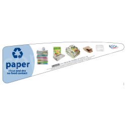 """Recycle Across America Paper Standardized Recycling Labels, P-TRI, 13 3/8"""" x 4 5/8"""", Light Blue"""