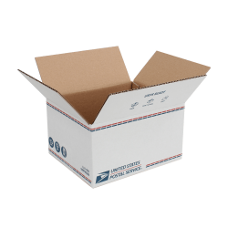 "United States Post Office Shipping Box, 11"" x 9"" x 6"", White"