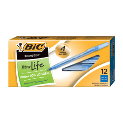 BIC® Round Stic® Ballpoint Pens, Medium Point, 1.0 mm, Translucent Barrel, Blue Ink, Pack Of 12