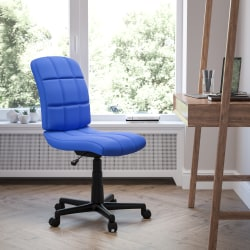 Flash Furniture Quilted Vinyl Mid-Back Swivel Task Chair, Blue/Black