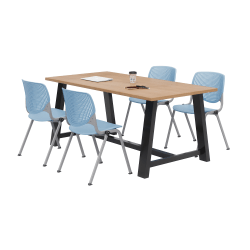 KFI Studios Midtown Table With 4 Stacking Chairs, Kensington Maple/Sky Blue