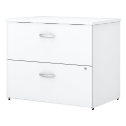 Bush Business Furniture Easy Office 2-Drawer Lateral File Cabinet, White, Standard Delivery