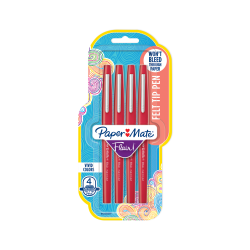 Paper Mate® Flair® Porous-Point Pens, Medium Point, 1.0 mm, Red Ink, Pack Of 4 Pens