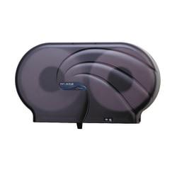 """San Jamar 2-Roll Jumbo Toilet Tissue Dispenser, 19"""" x 5 1/4"""" x 12"""", Black Pearl"""
