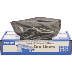 "Stout Total Recycled Content Trash Bags, 1.3-mil, 20 - 30 Gallons, 30"" x 39"", 100% Recycled, Brown, Carton Of 100"