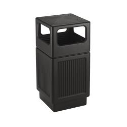 "Safco Canmeleon 38-gallon Waste Receptable - 38 gal Capacity - Rectangular - 39.3"" Height x 18.3"" Width x 18.3"" Depth - High-density Polyethylene (HDPE), Stainless Steel, Plastic - Black"