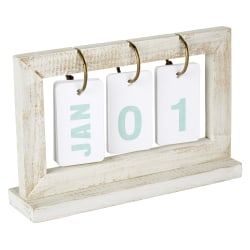 "Office Depot® Perpetual Wooden Desk Calendar, 5"" x 8"", Whitewashed Wood, January To December, 18QAD32"