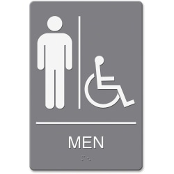 """Headline U.S. Stamp & Sign Men/Wheelchair Image Indoor Sign - 1 Each - men's restroom/wheelchair accessible Print/Message - 6"""" Width x 9"""" Height - Rectangular Shape - Double-sided - Plastic - Gray, White"""