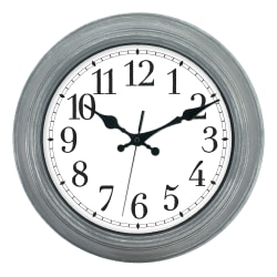 "Realspace™ Round Wall Clock, 13"", Wiped Gray"