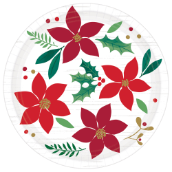 "Amscan Christmas Wishes 7"" Paper Plates, Red, Pack Of 48 Plates"