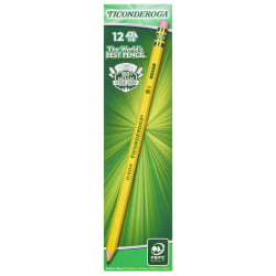 Ticonderoga® Pencils, Presharpened, #2 Lead, Soft, Pack of 12