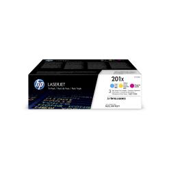 HP 201X High-Yield Toner Cartridges, Cyan/Magenta/Yellow (CF253XM), Pack Of 3