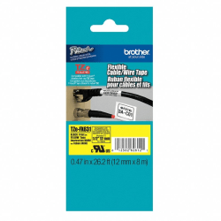 """Brother® TZ-FX631 Extra-Strength Flexible Label Maker Tape, 0.5"""" x 26.2', Black Print/Yellow Label"""