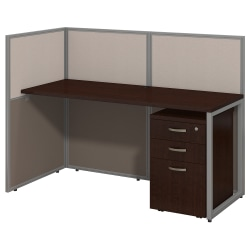 "Bush Business Furniture Easy Office Straight Desk Open Office With 3-Drawer Mobile Pedestal, Fully Assembled, 44 15/16""H x 60 1/16""W x 30 9/16""D, Mocha Cherry"