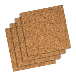 "Quartet® Cork Unframed Bulletin Board Wall Tiles, 12"" x 12"", Natural Brown, Pack Of 4"