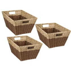 Honey Can Do Rectangle Nesting Seagrass 2-Color Baskets With Built-In Handles, Natural & Brown, Set Of 3