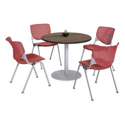 KFI Studios KOOL Round Pedestal Table With 4 Stacking Chairs, Studio Teak/Coral Orange