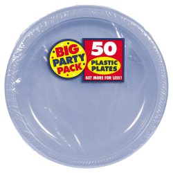 """Amscan Round Plastic Plates, 10-1/2"""", Pastel Blue, Pack Of 50 Plates"""