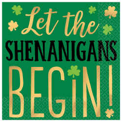 """Amscan St. Patrick's Day 2-Ply Beverage Napkins, 5"""" x 5"""", Shenanigans, 16 Napkins Per Sleeve, Pack Of 4 Sleeves"""