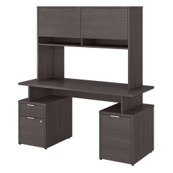 """Bush Business Furniture Jamestown Desk With Drawers, Storage Cabinet And Hutch, 60""""W, Storm Gray, Standard Delivery"""