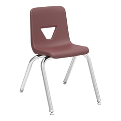 """Lorell® Classroom Student Stack Chairs, 16""""H Seat, Wine/Silver, Set Of 4"""