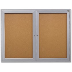 "Ghent 2-Door Enclosed Indoor Bulletin Board, 48"" x 36"", Silver Aluminum Frame"