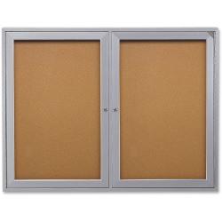 "Ghent 2-Door Enclosed Indoor Bulletin Board, 48"" x 36"", Silver Aluminum Frame"