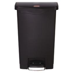 Rubbermaid® Slim Jim Step-On Resin Front Step Wastebasket, 13 Gallons, Black