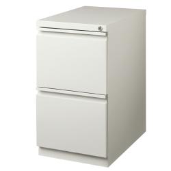 """WorkPro® 23""""D Vertical 2-Drawer Mobile Pedestal File Cabinet, Metal, Light Gray"""