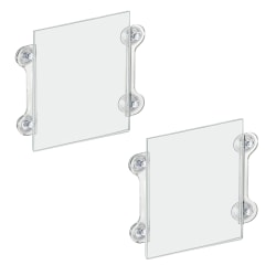 """Azar Displays Vertical/Horizontal Sign Frames With Suction Cups, 8 1/2"""" x 11"""", Clear, Pack Of 2"""