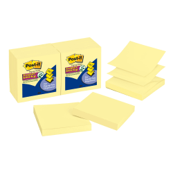 "Post it® Notes Super Sticky Notes, Pop-Up, 3"" x 3"", Canary Yellow, Pack Of 12 Pads"