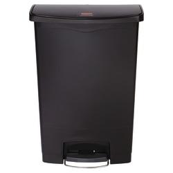Rubbermaid® Slim Jim Step-On Resin Front Step Wastebasket, 24 Gallons, Black
