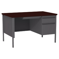 "Lorell® Fortress Series Steel Pedestal Desk, 48""W, Right-Handed, Charcoal/Mahogany"