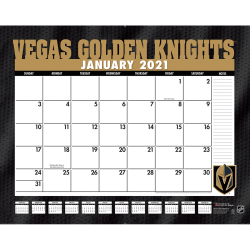 """Lang Turner Licensing Sports Monthly Desk Pad, 17"""" x 22"""", Vegas Golden Knights, January To December 2021"""