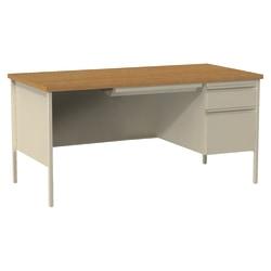 """Lorell® Fortress Series Steel Pedestal Desk, 66""""W, Right-Handed, Oak/Putty"""