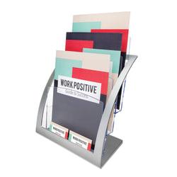 "Deflecto® Contemporary Literature Holder, 3 Magazine Compartments, 13 5/16""H x 11 1/4""W x 6 15/16""D, Silver/Clear"