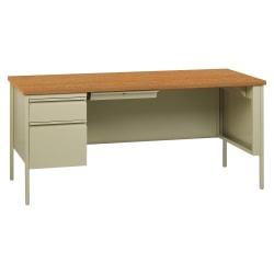 """Lorell® Fortress Series Steel Pedestal Desk, 66""""W, Left-Handed, Oak/Putty"""