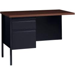 "Lorell® Fortress Series 42""W Steel Pedestal Return Desk, Left, Black/Walnut"