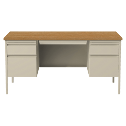 "Lorell® Fortress Series 60""W Steel Double Pedestal Desk, Putty/Oak"